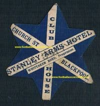 1887 UNIQUE ITEM!  Blackpool F.C. W McCaffrey baines-like star card Stanley Arms Hotel